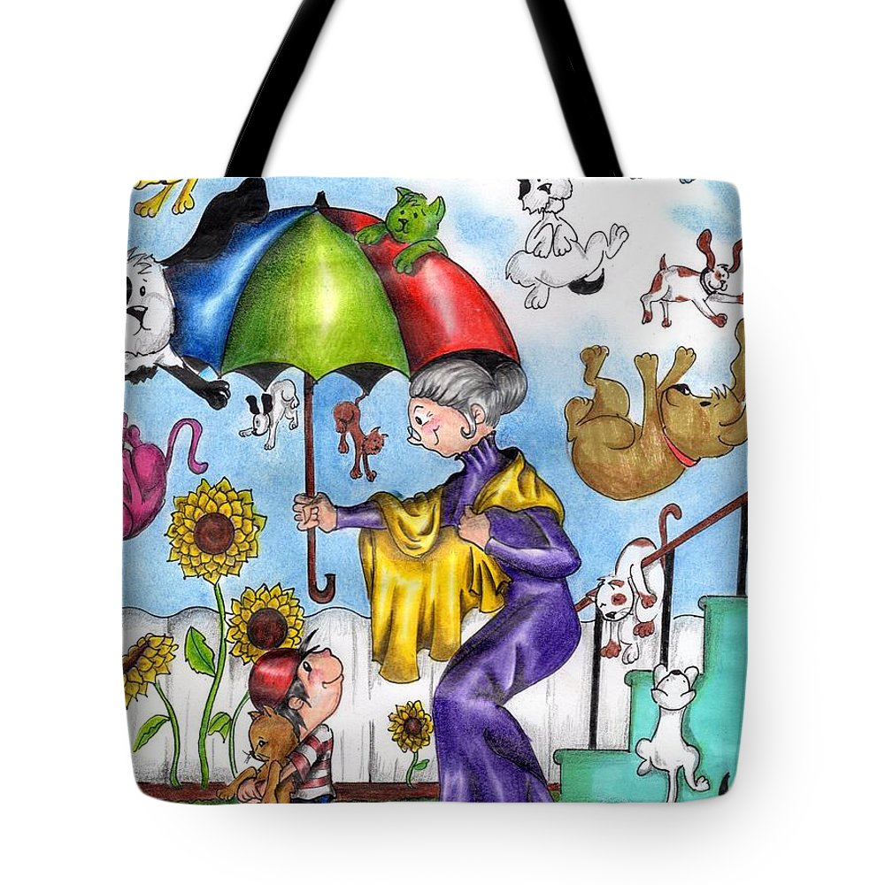 Paper Tote Bag featuring the drawing It's Raining... by Diego Chacon B