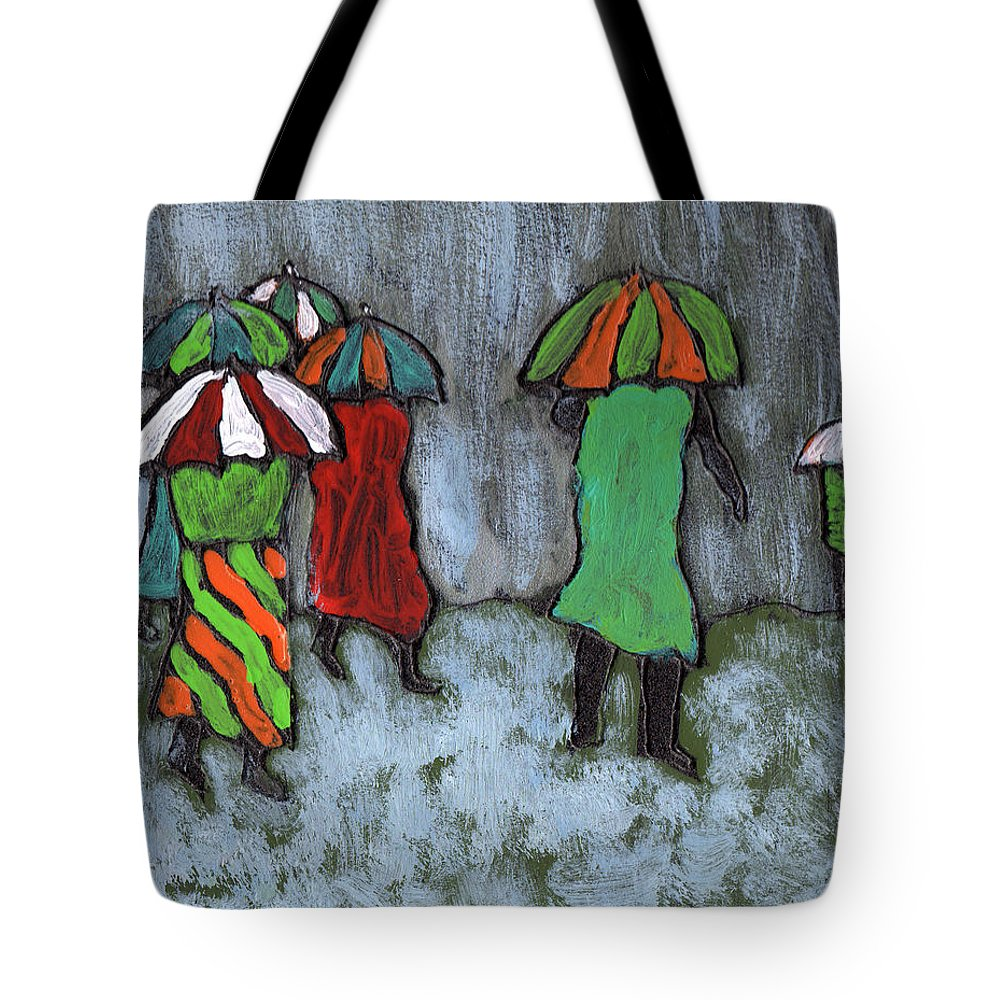 Etnic Tote Bag featuring the painting It's Raining It's Pouring by Wayne Potrafka