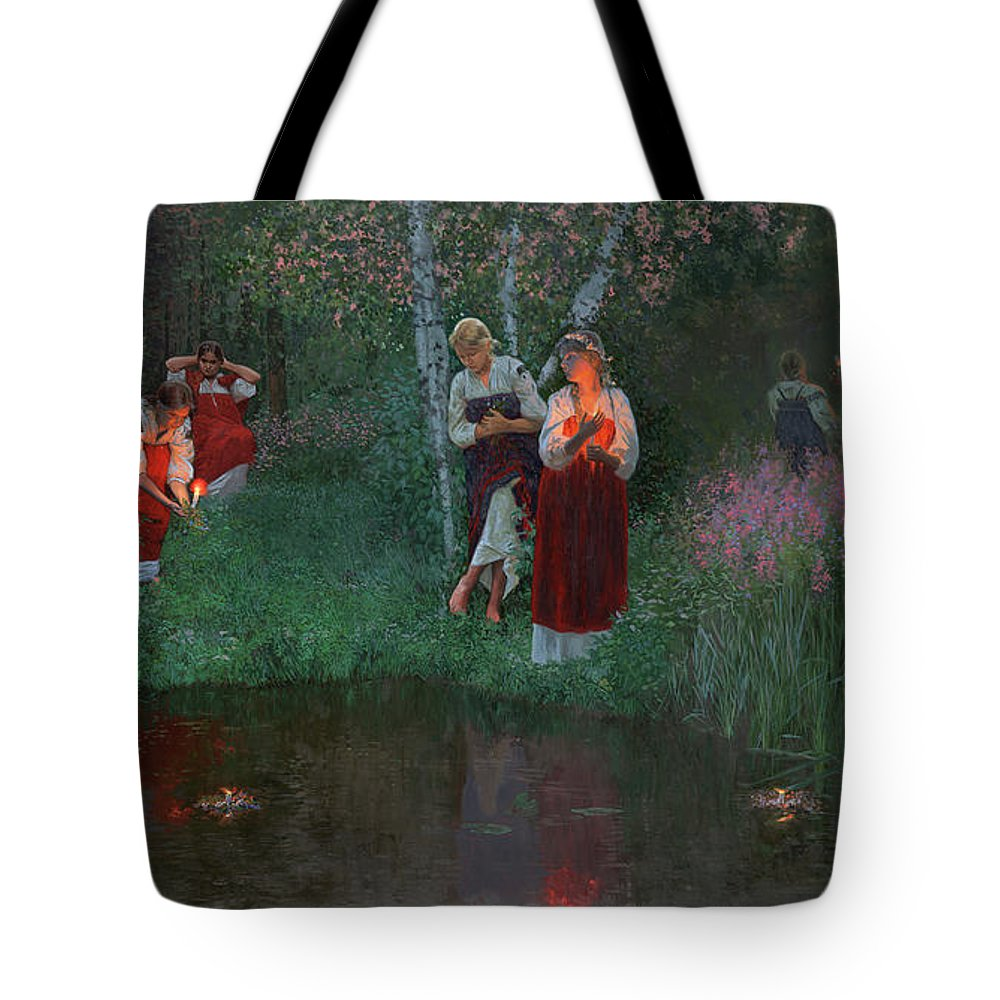 Girs Tote Bag featuring the painting Ivan Kupala. Fortunetelling For Wreaths. by Simon Kozhin