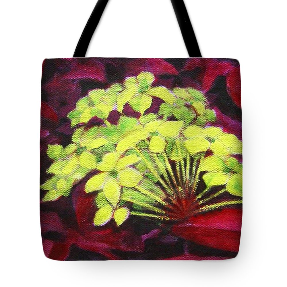 Foliage Tote Bag featuring the painting Ixora - Jungle Flame by Usha Shantharam