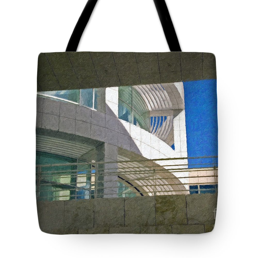 J. Paul Getty Museum Los Angeles Ca Administration Building Abstract View Tote Bag featuring the photograph J. Paul Getty Museum Abstract View by David Zanzinger