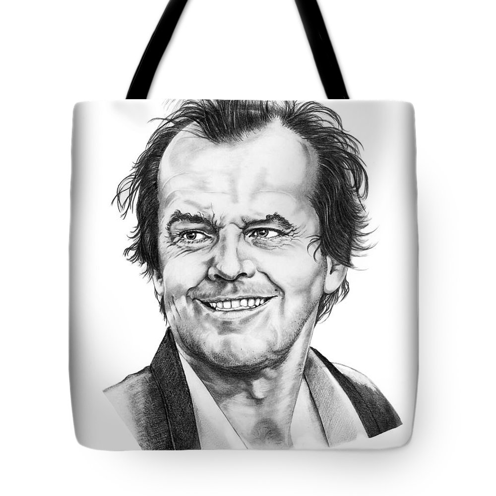 Portrait Tote Bag featuring the drawing Jack Nickolson by Murphy Elliott