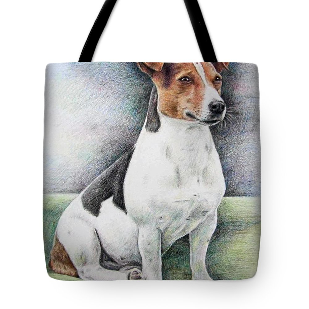 Dog Tote Bag featuring the drawing Jack Russell Terrier by Nicole Zeug