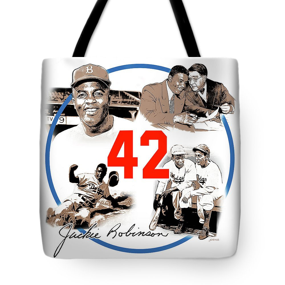 Jackie Robinson Tote Bag featuring the digital art Jackie 42 by Greg Joens