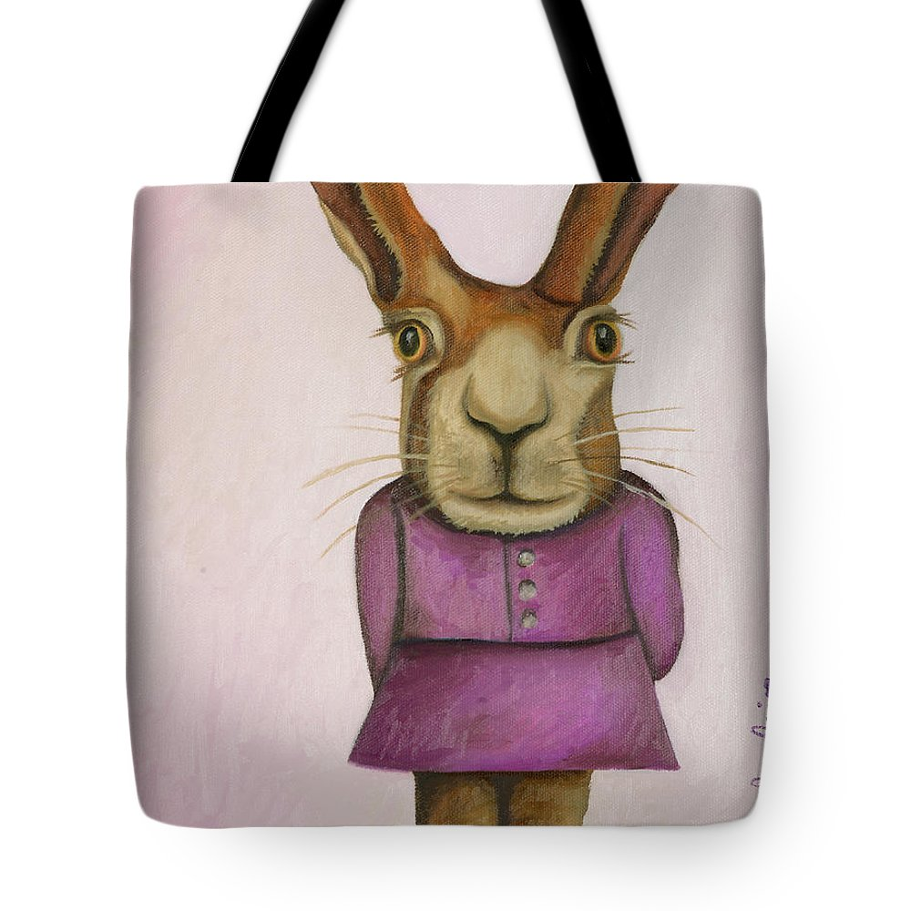 Rabbit Tote Bag featuring the painting Jackie by Leah Saulnier The Painting Maniac