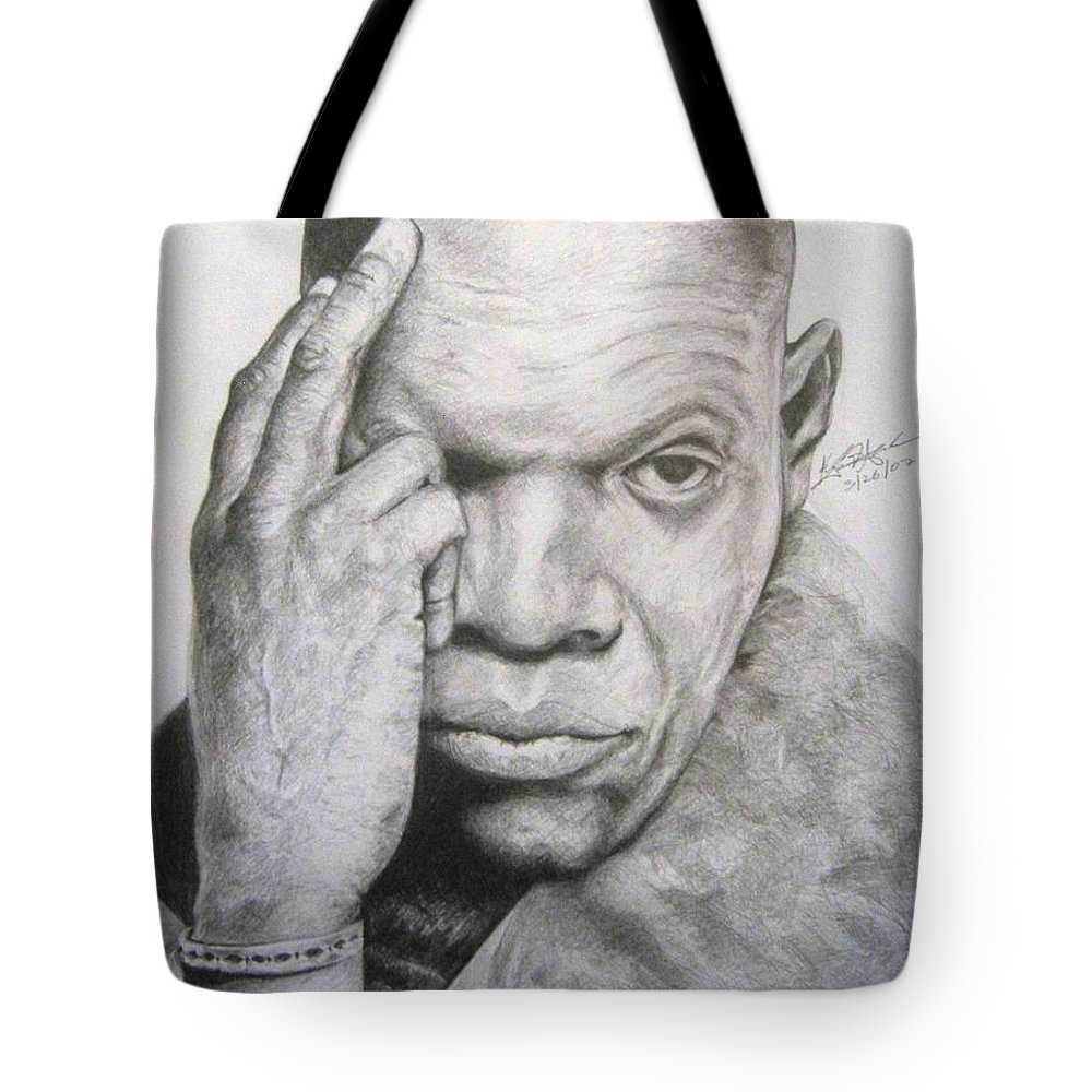 Portrait Tote Bag featuring the drawing Jackson By Kyle Anderson by Joyce Owens