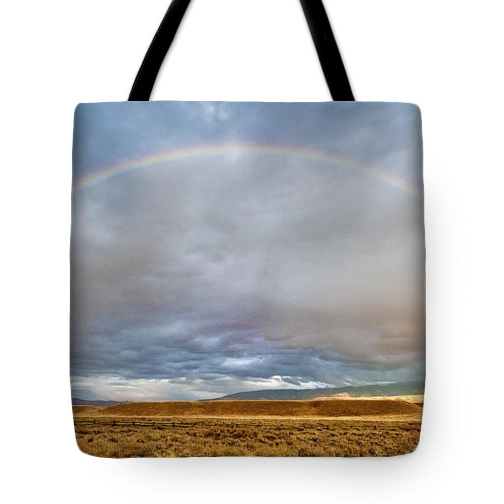 Grand Teton Tote Bag featuring the photograph Jackson Hole Rainbow by Sandra Bronstein