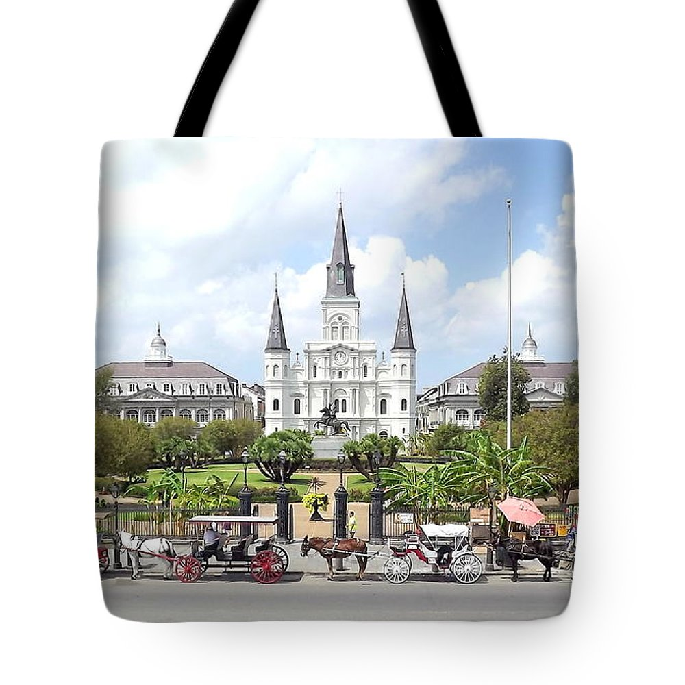 New Orleans Louisiana French Quarter Toulouse Royal Bourbon Charters Frenchmen Street Historic Andrew Jackson Jax Brewery Mississippi River Moonwalk Horse And Carriage Old Civil War Tourist Tours Icon Tote Bag featuring the photograph Jackson Square by Jackie Jackson