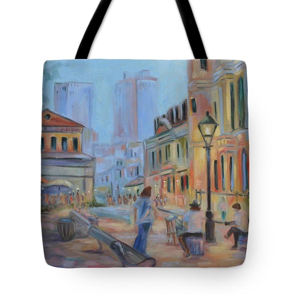 New Orleans Tote Bag featuring the painting Jackson Square Musicians by Ginger Concepcion