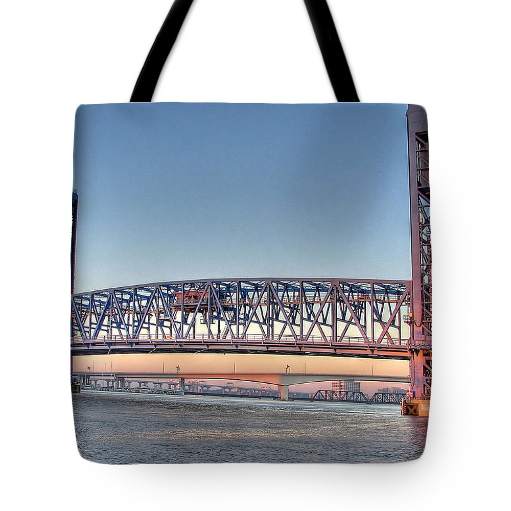Bridge Tote Bag featuring the photograph Jacksonville's Blue Bridge At Sunrise by Farol Tomson