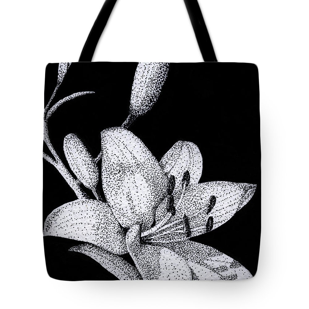 Flower Tote Bag featuring the drawing Jacqui's Lily by Linda Hiller