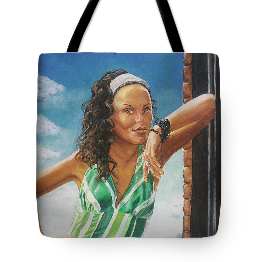 Jade Anderson Tote Bag featuring the painting Jade Anderson by Bryan Bustard