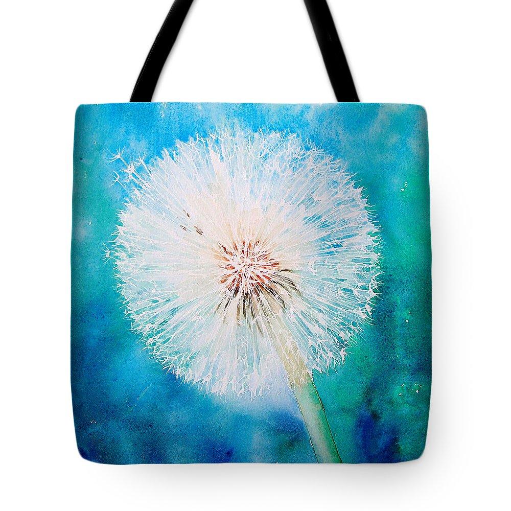 Dandelion Tote Bag featuring the painting Jade Dandelion by Ruth Harris