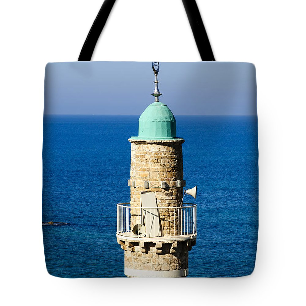 Middle East Tote Bag featuring the photograph Jaffa, The Turret Of The El Baher Mosque by Ilan Rosen