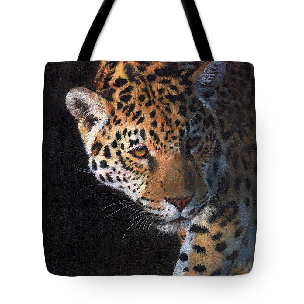 Jaguar Tote Bag featuring the painting Jaguar Portrait by David Stribbling