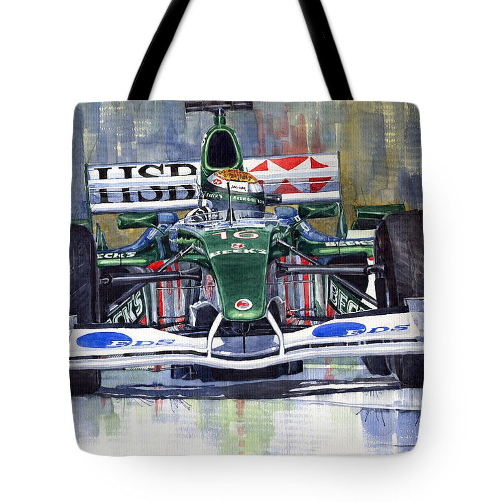 Watercolour Tote Bag featuring the painting Jaguar R3 Cosworth F1 2002 Eddie Irvine by Yuriy Shevchuk