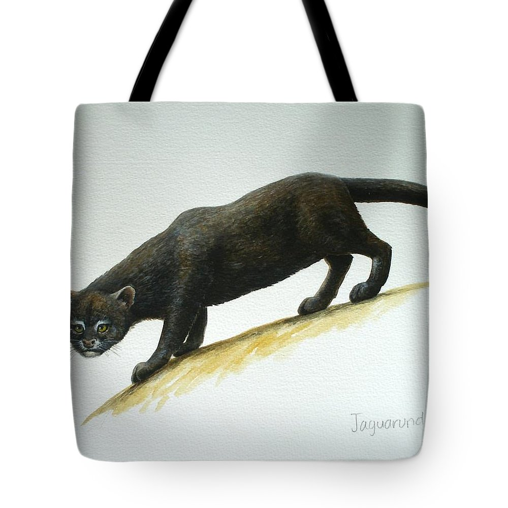Jaguarundi Tote Bag featuring the painting Jaguarundi by Christopher Cox