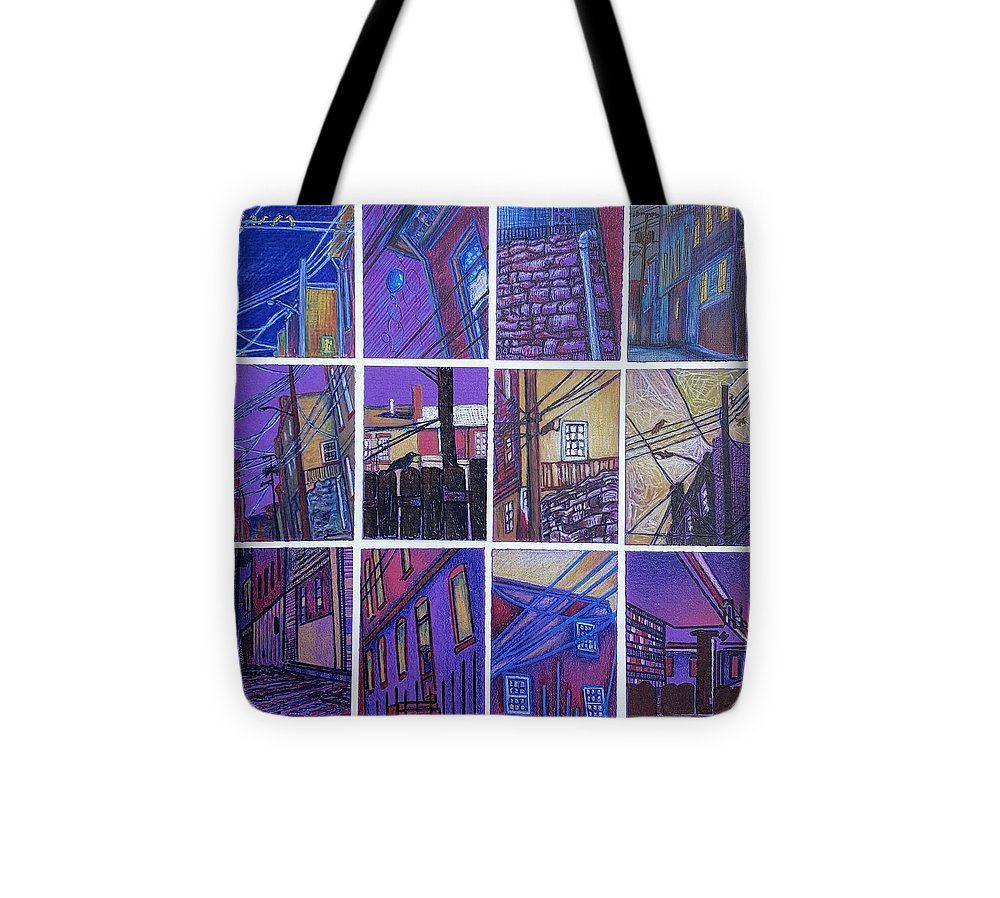 Alley Tote Bag featuring the drawing Jail Alley, Fredericksburg, Va by Carol Coffman