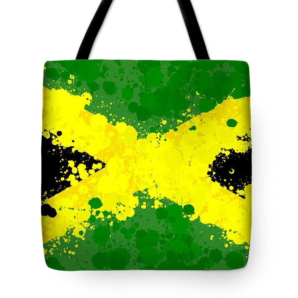 Jamaica Flag Paint Splatter Tote Bag