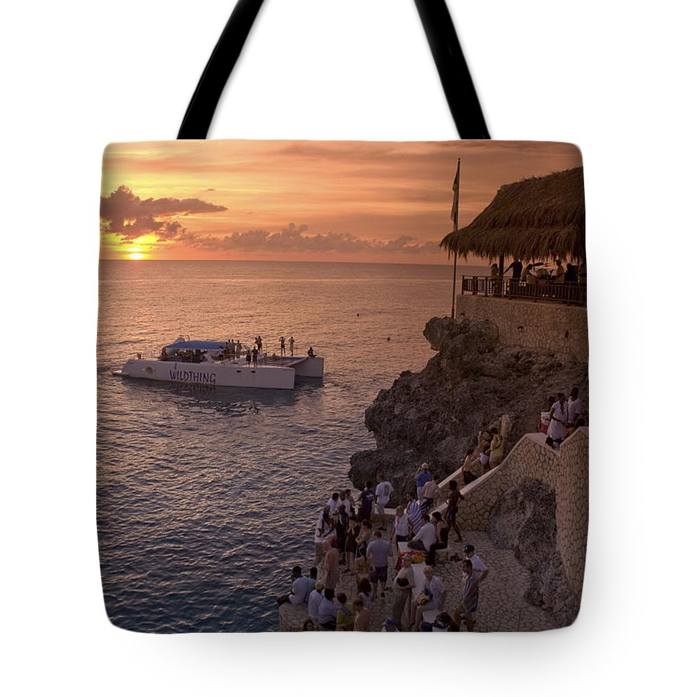 Air Tote Bag featuring the photograph Jamaica Negril Ricks Cafe by Juergen Held
