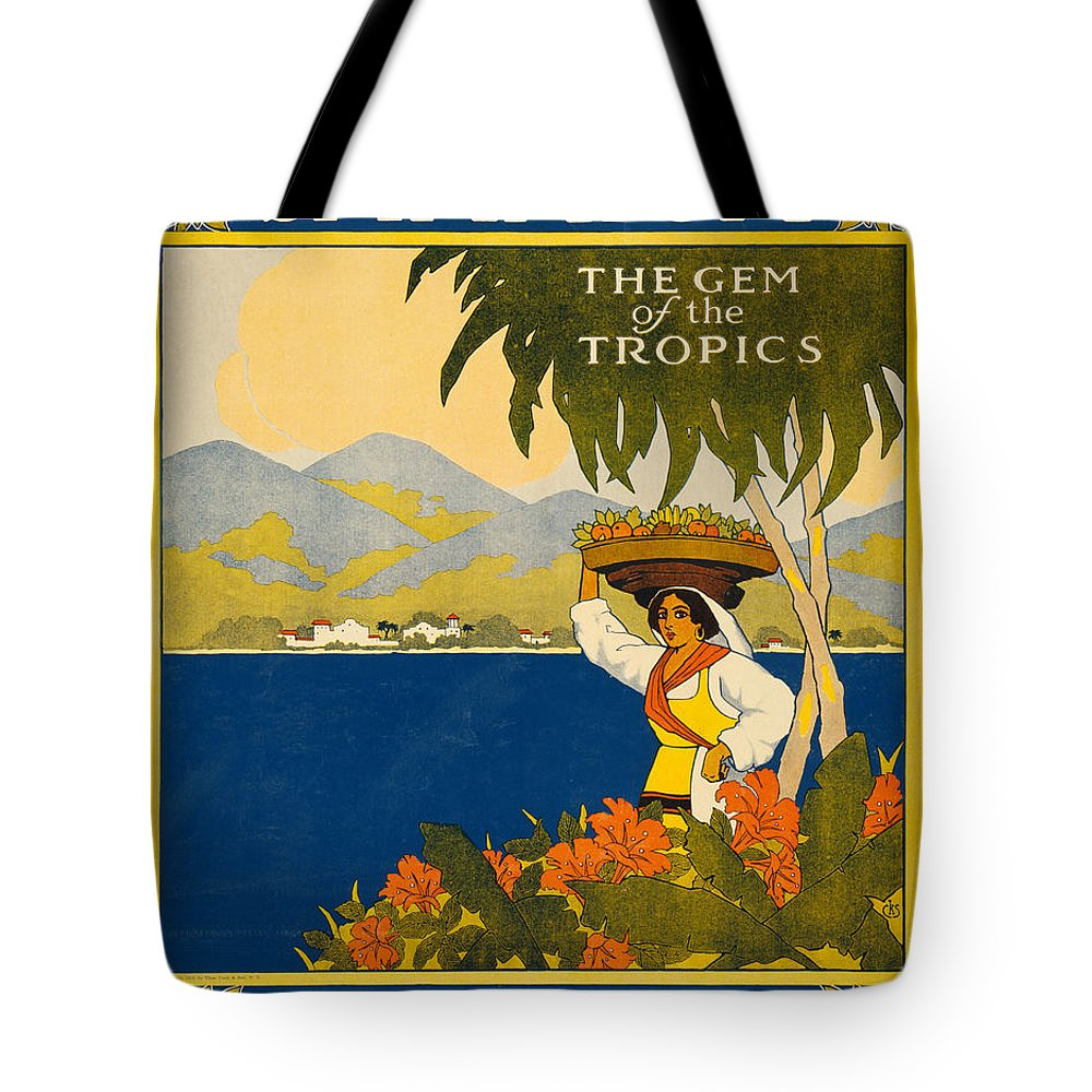 Vintage Tote Bag featuring the painting Jamaica by Nostalgic Prints