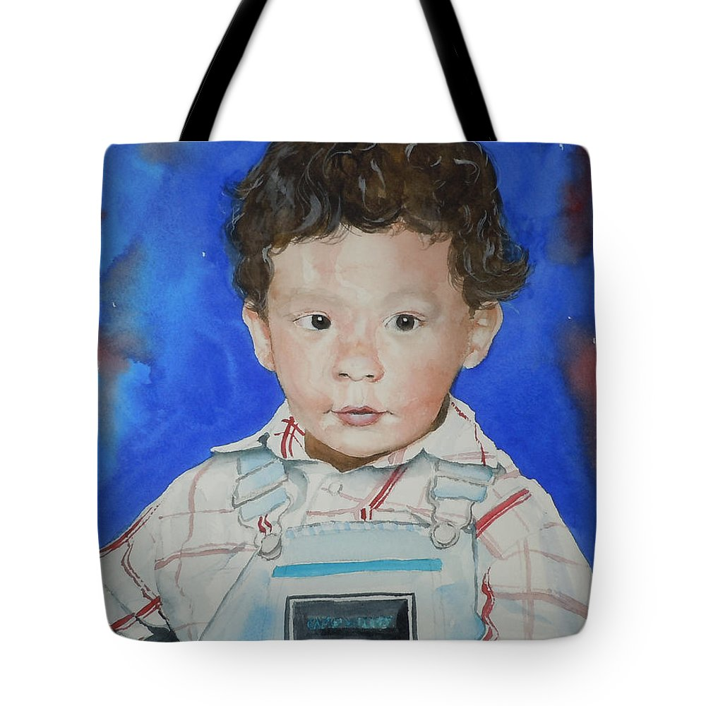 Boy Tote Bag featuring the painting Jamal by Jean Blackmer
