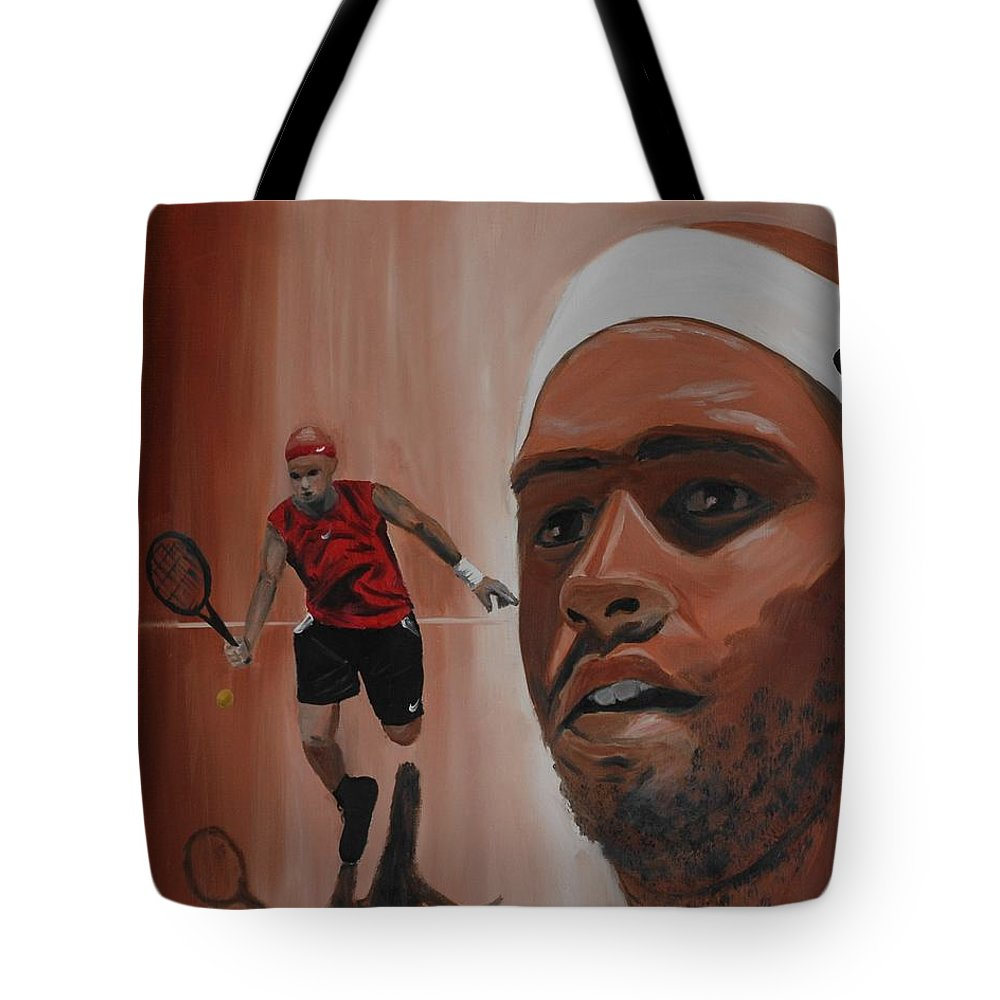 James Tote Bag featuring the painting James Blake by Quwatha Valentine
