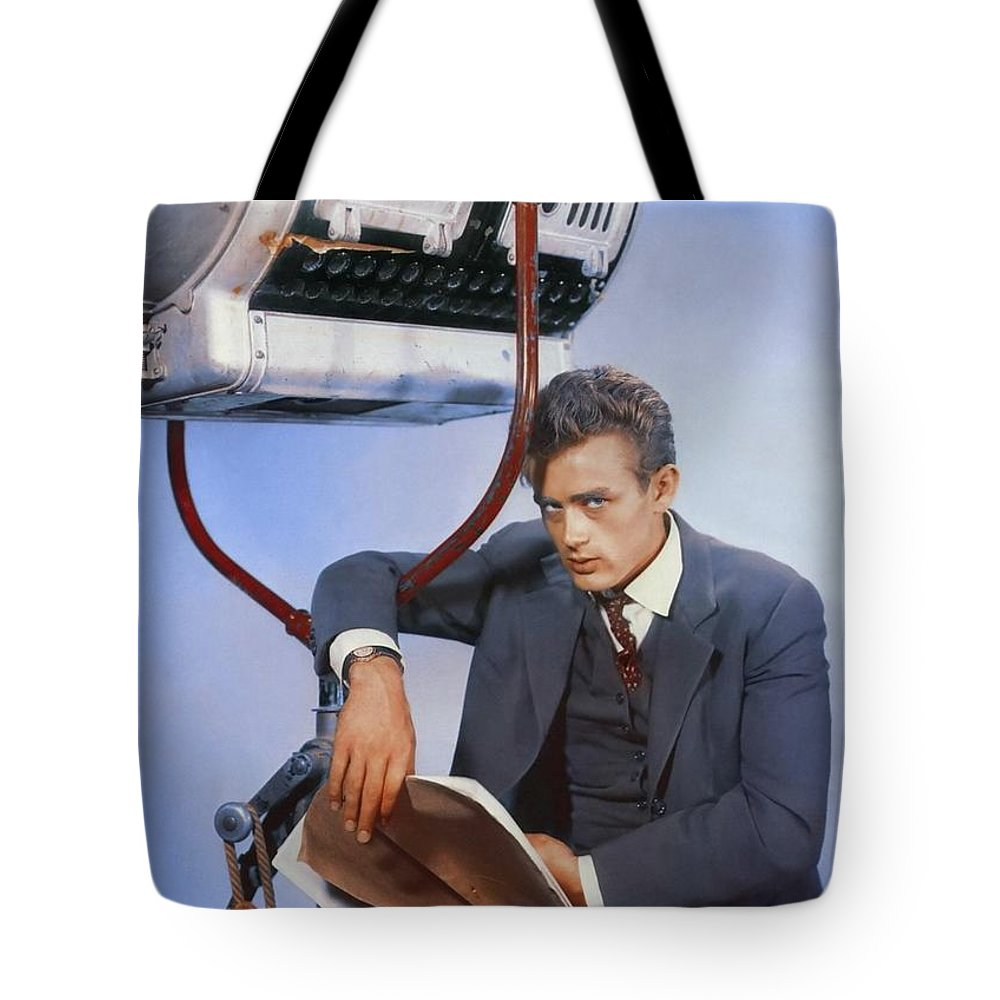 Hollywood Stars Celebrity Tote Bag featuring the photograph James Dean On Set by Peter Nowell