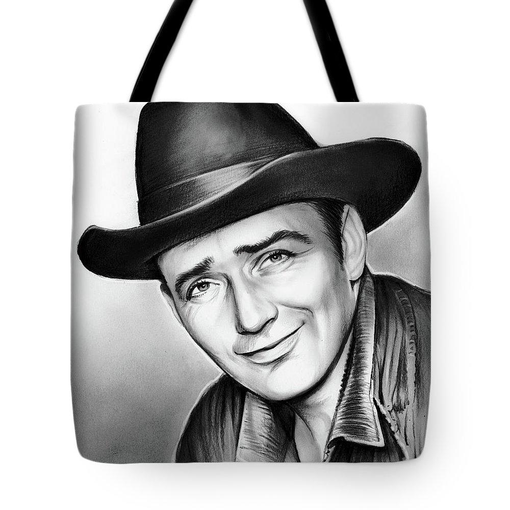 James Drury Tote Bag featuring the drawing James Drury by Greg Joens