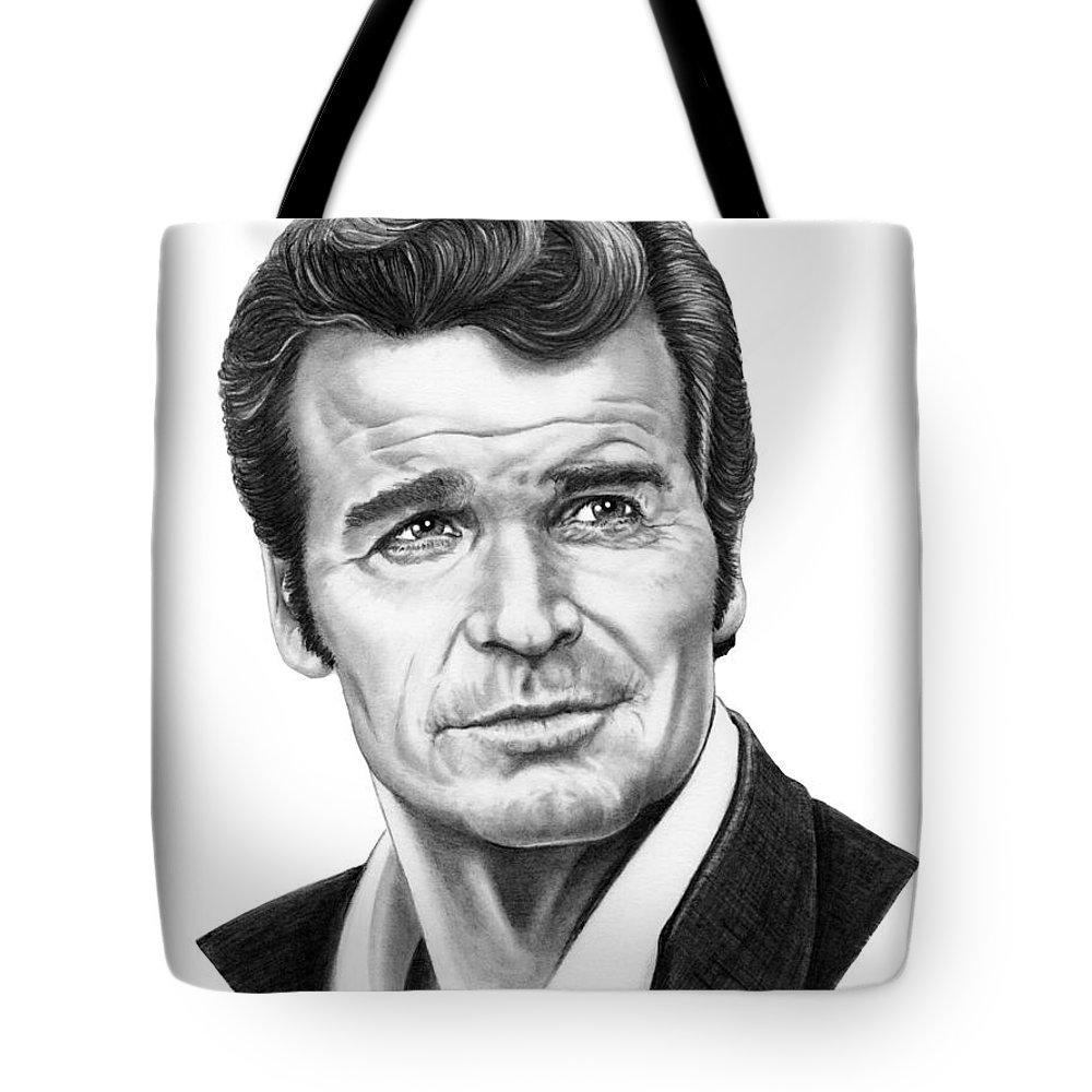 Drawing Tote Bag featuring the drawing James Garner by Murphy Elliott