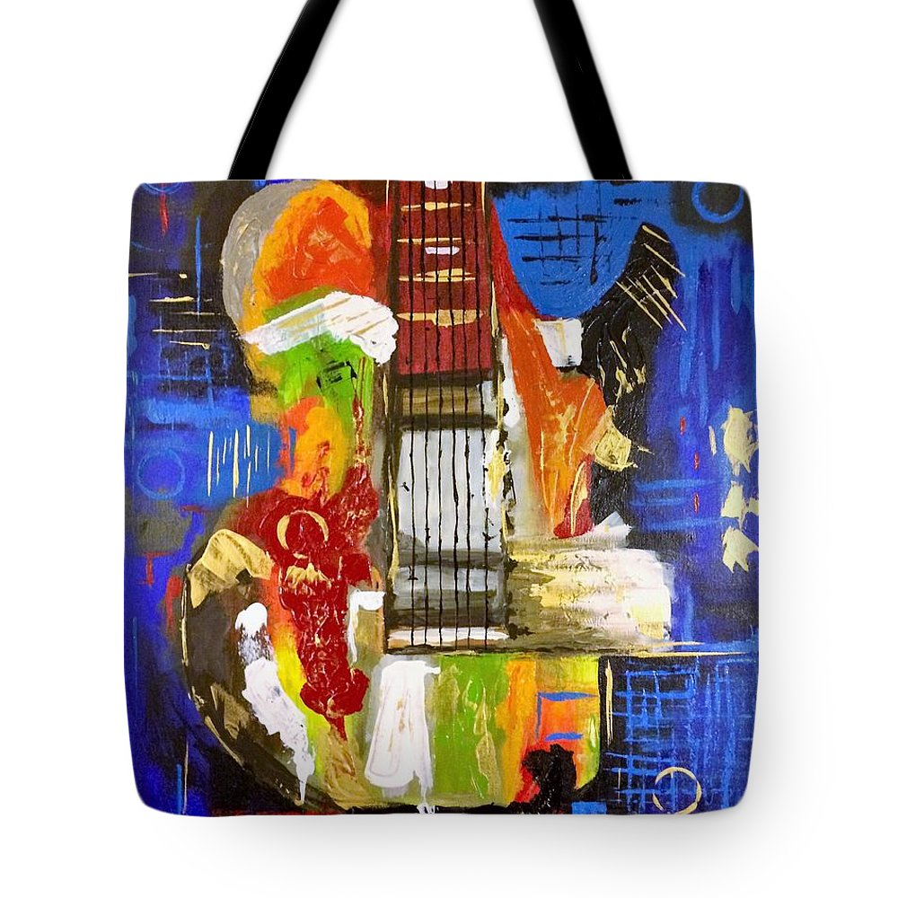 Abstract Tote Bag featuring the painting Jammin' by Terri Huffman