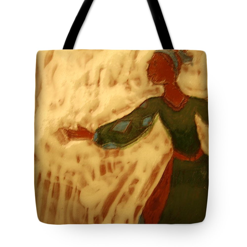 Jesus Tote Bag featuring the ceramic art Jane - Tile by Gloria Ssali