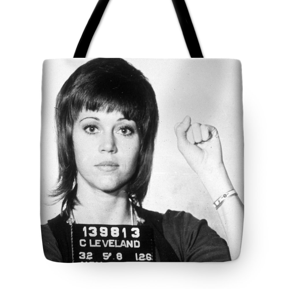 jane fonda mug shot vertical tote bag for sale by tony rubino - jane fonda tote bag featuring the painting jane fonda mug shot vertical bytony rubino