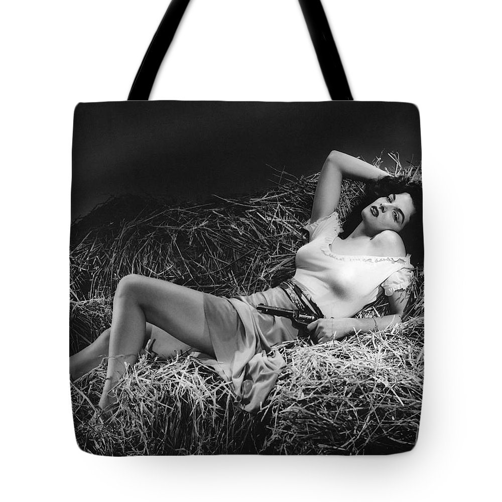 Hollywood Stars Celebrity Tote Bag featuring the photograph Jane Russell In The Outlaw by Peter Nowell