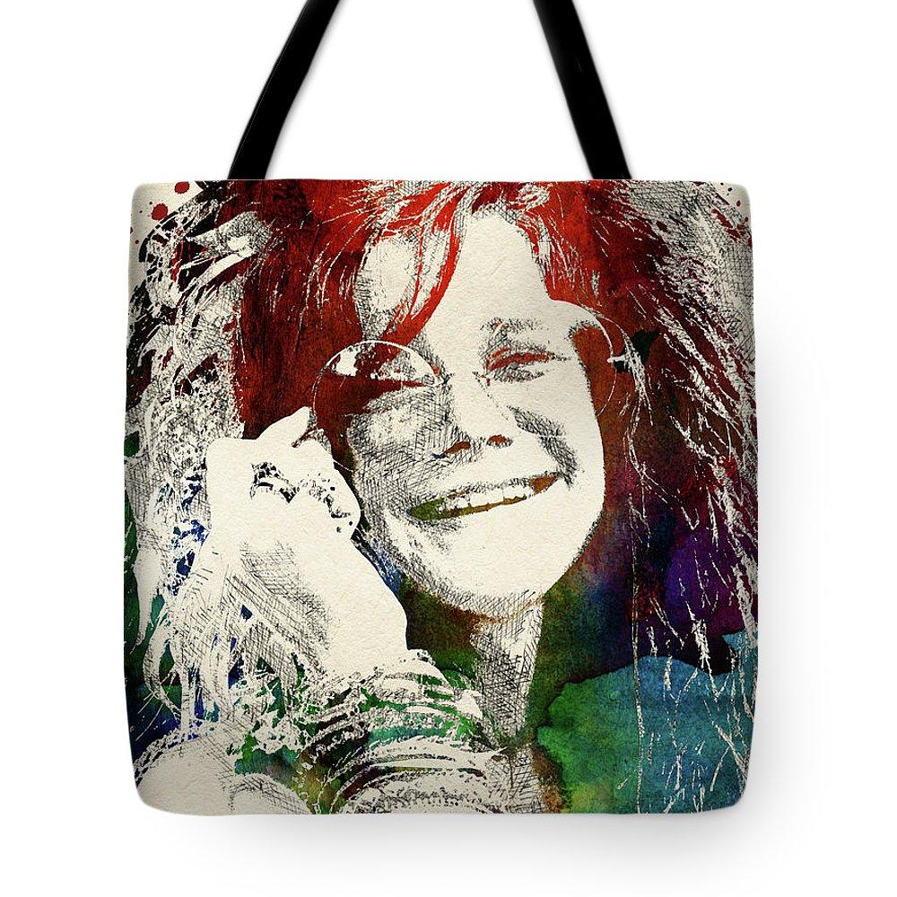 Janis Joplin Tote Bag featuring the digital art Janis Joplin Portrait by Mihaela Pater