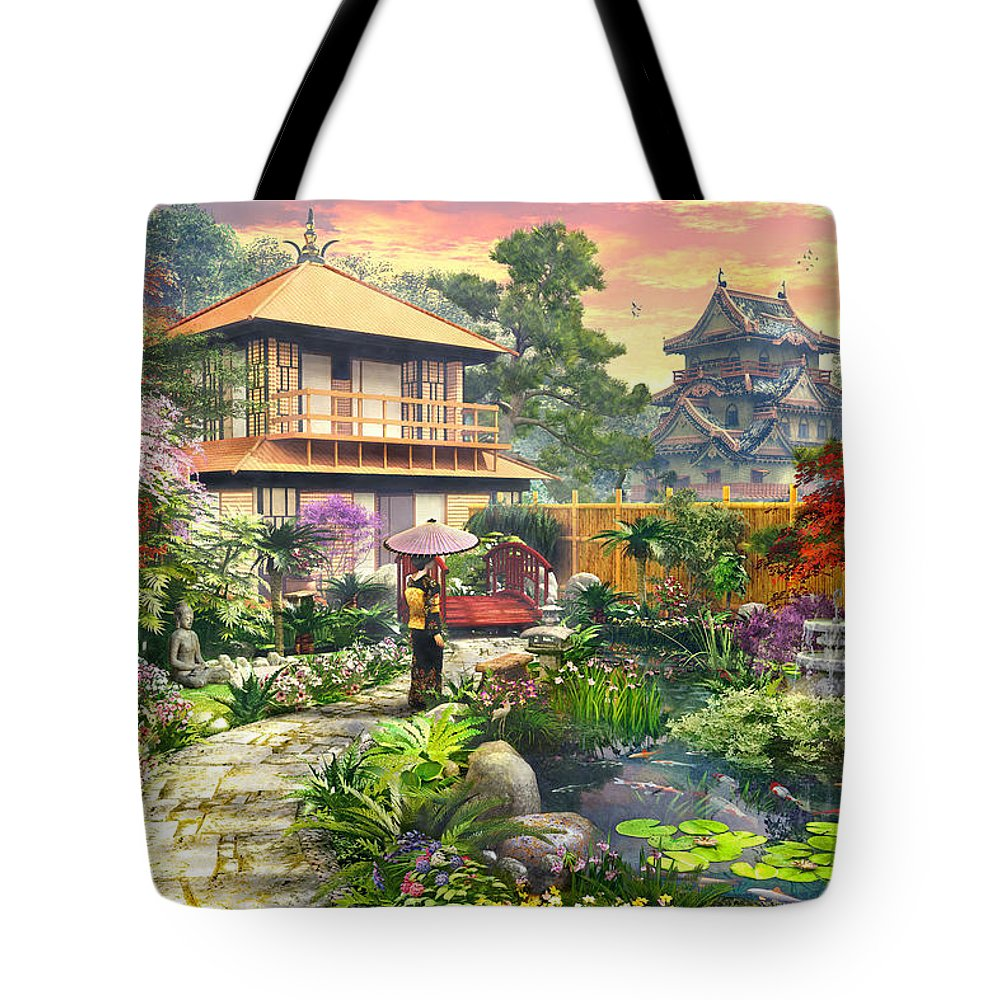 Horizontal Tote Bag featuring the digital art Japan Garden Variant 2 by Dominic Davison