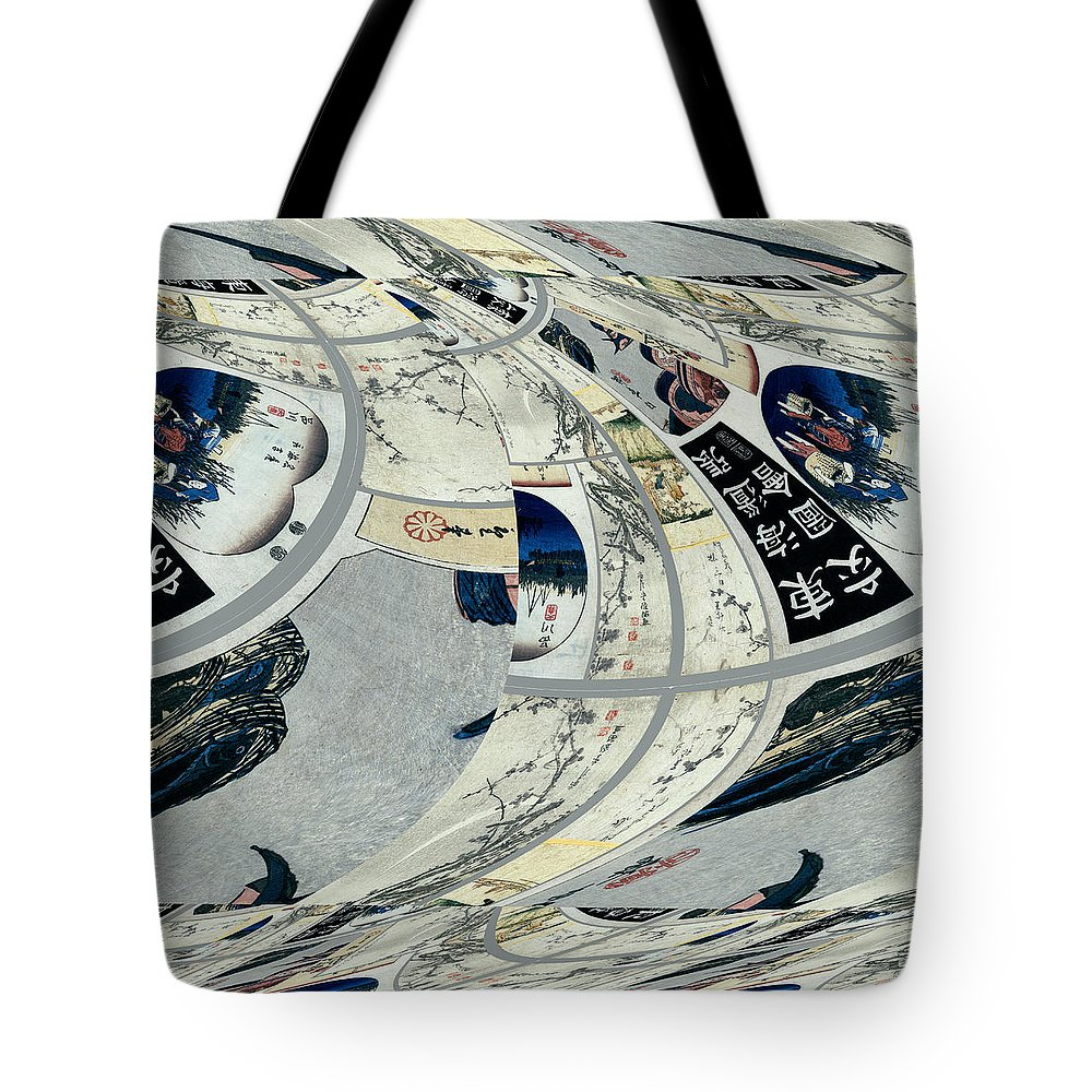 Robert Kernodle Abstract Art Tote Bag featuring the digital art Japanese Bold Abstract by Robert G Kernodle