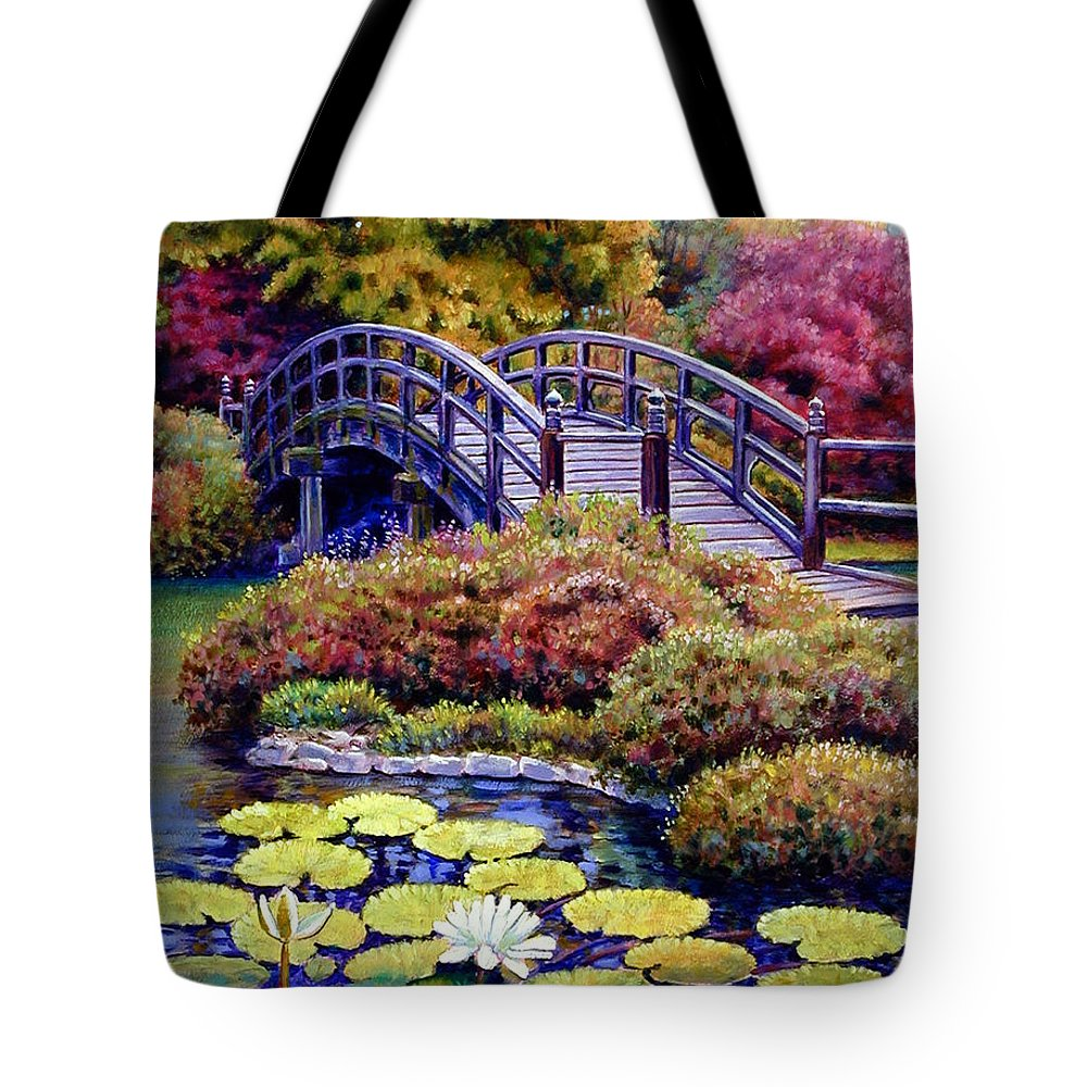 Japanese Bridge Tote Bag featuring the painting Japanese Bridge by John Lautermilch