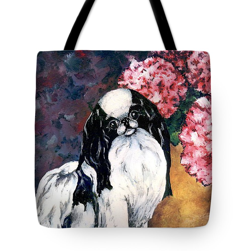 Japanese Chin Tote Bag featuring the painting Japanese Chin And Hydrangeas by Kathleen Sepulveda