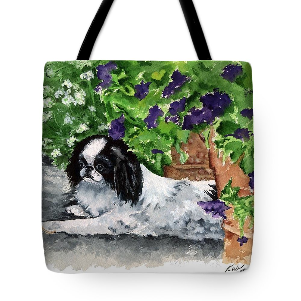 Japanese Chin Tote Bag featuring the painting Japanese Chin Puppy And Petunias by Kathleen Sepulveda