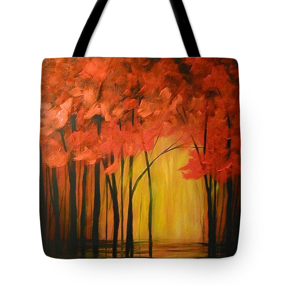 Abstract Tote Bag featuring the painting Japanese Forest by Sabina Surya Naya