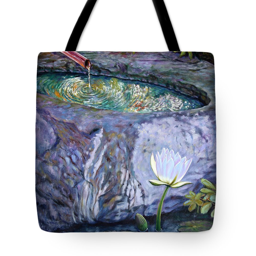 Garden Tote Bag featuring the painting Japanese Fountain With Lily by John Lautermilch
