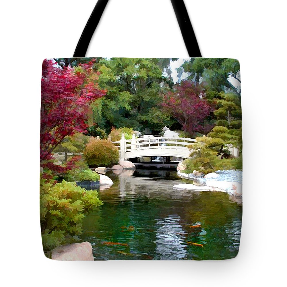 Nature Tote Bag featuring the painting Japanese Garden Bridge And Koi Pond by Elaine Plesser