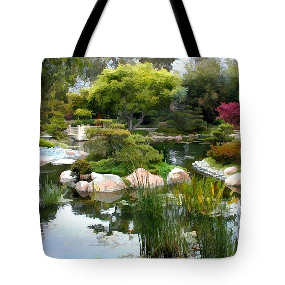 Japanese Garden Tote Bag featuring the painting Japanese Garden Panorama 2 by Elaine Plesser