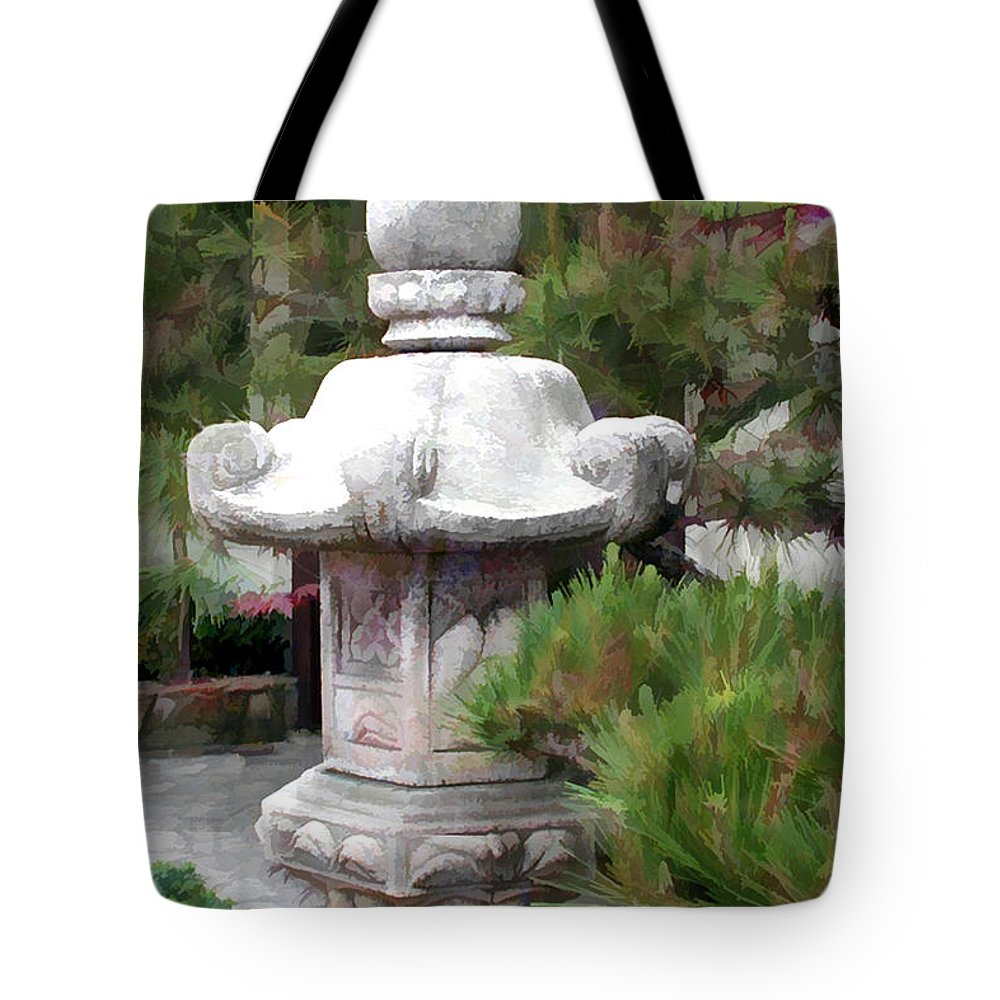 Japanese Garden Tote Bag featuring the painting Japanese Garden Stone Lantern Statue by Elaine Plesser