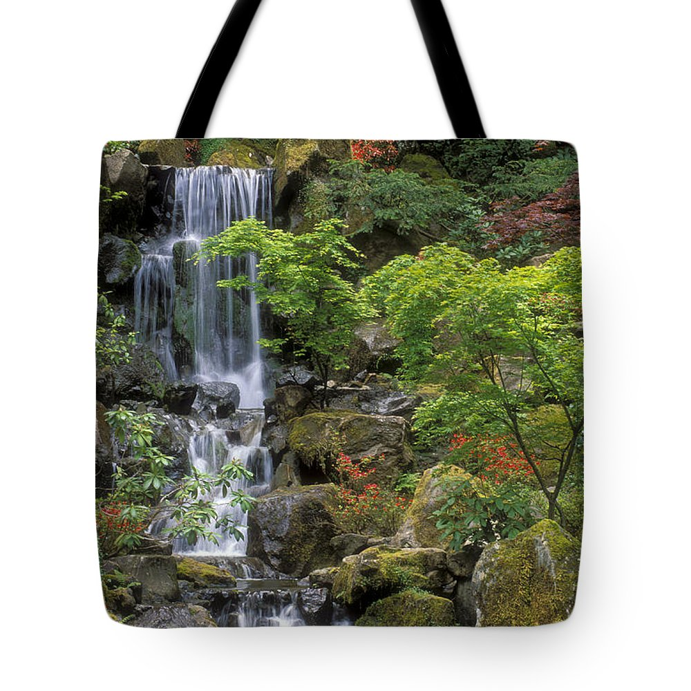 Waterfall Tote Bag featuring the photograph Japanese Garden Waterfall by Sandra Bronstein
