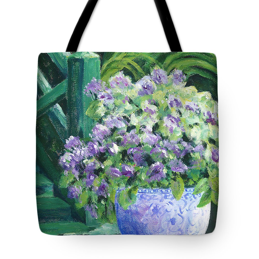 Impressionism Tote Bag featuring the painting Japanese Pot At Monets Home by Tara Moorman