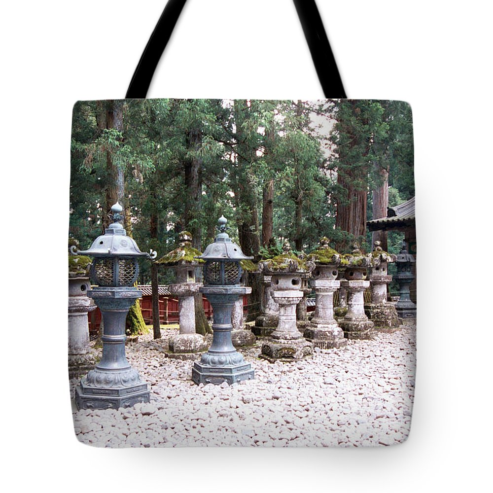 Japan Tote Bag featuring the photograph Japanese Stone Lanterns by Dianne Levy