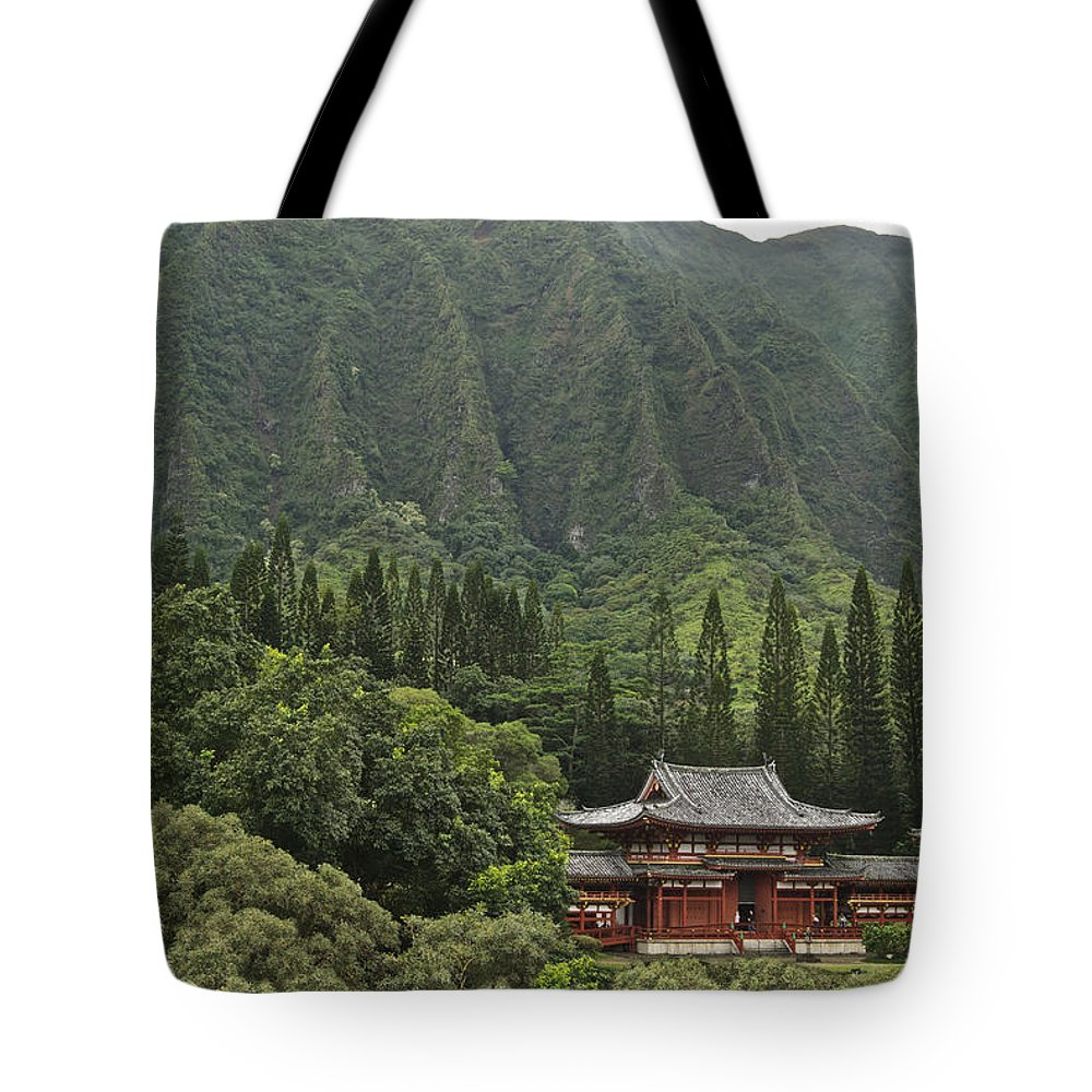 Oahu Tote Bag featuring the photograph Japanese Temple by Michael Peychich