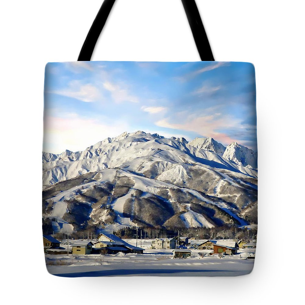 Village Tote Bag featuring the photograph Japanese Winter Resort by Anthony Dezenzio